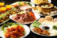 前菜4種盛り合わせ・ローストビーフサラダ・青菜炒め・点心4種盛り合わせ・