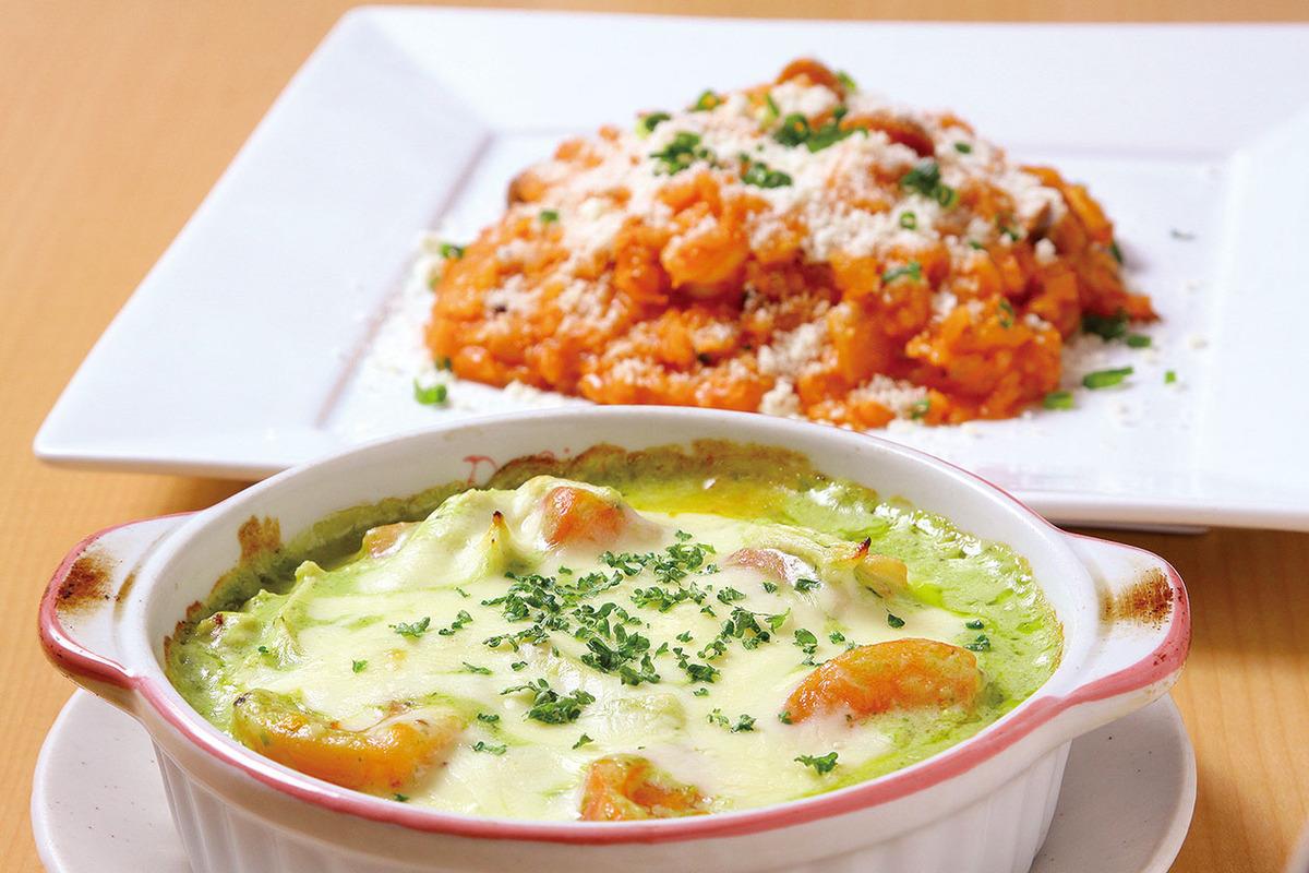 蒸し鶏とトマトのジェノバ風ドリア