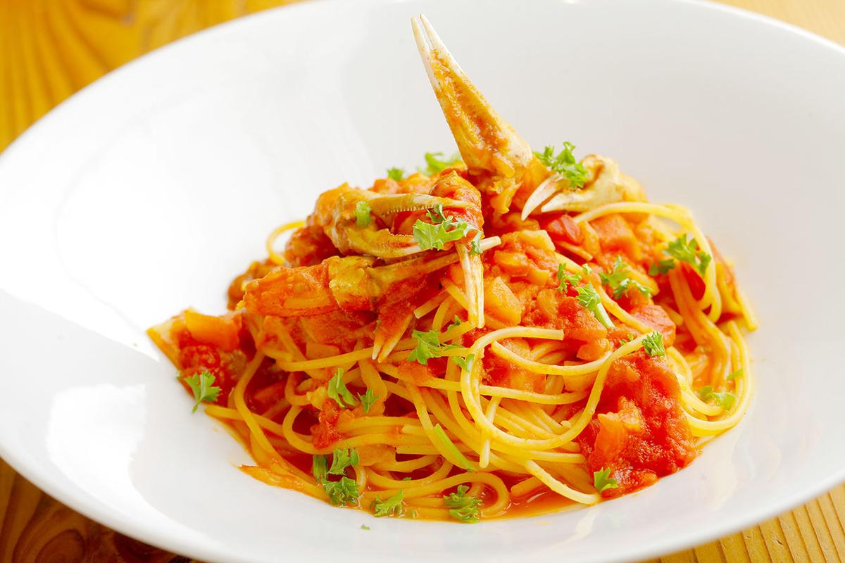 ズワイガニのトマトクリームスパゲッティ