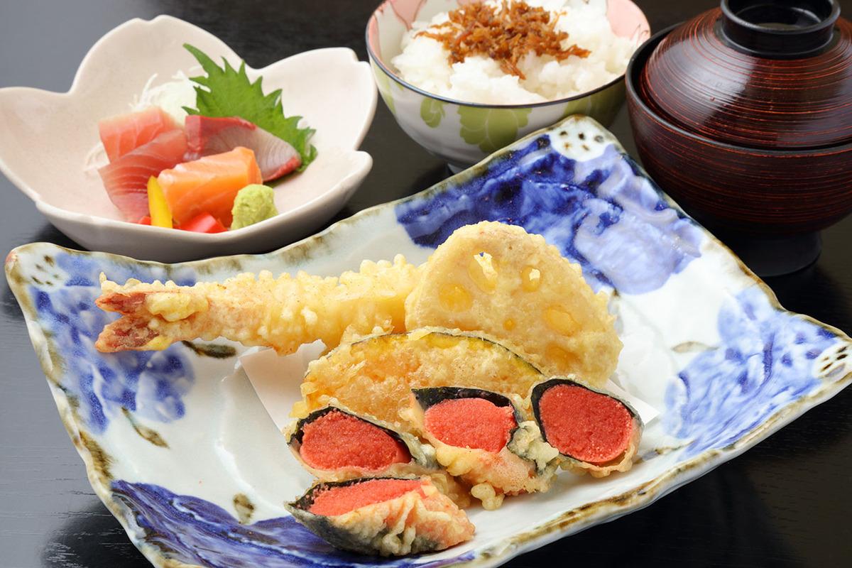 明太子天&海老の天ぷら定食(刺身付き)